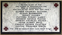 TG0336 : All Saints, Sharrington - Wall monument WWI by John Salmon