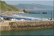 SX2553 : Harbour wall, Looe by Derek Harper