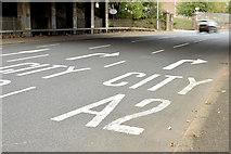 J3479 : Road markings, Greencastle, Belfast (September 2014) by Albert Bridge