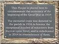 SK3528 : Re-Dedication Plaque, Barrow Upon Trent War Memorial by David Dixon