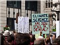 TQ3180 : Placards, Climate Change demonstration by Julian Osley