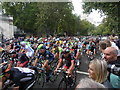 TQ3080 : London: Tour of Britain cyclists on Victoria Embankment by Chris Downer