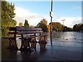 SP1479 : South end of platforms 1 and 2 after rain, Solihull railway station by Robin Stott