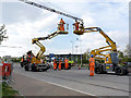SK5638 : Overhead erection on Enterprise Way - 2 by Alan Murray-Rust