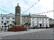 SX3384 : The War Memorial and White Hart Hotel, Launceston by Ruth Sharville