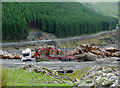 SN8456 : Timber extraction in Cwm Nant-y-Fedw, Powys by Roger  Kidd