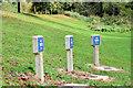 J3269 : Marker posts, Clement Wilson Park, Belfast (October 2014) by Albert Bridge