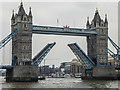 TQ3380 : Tower Bridge Opening, London by Christine Matthews