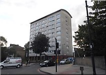 TQ3386 : Tower block on the corner of Manor Road by David Howard