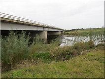 NY3564 : River Esk and M6 Motorway at Metal Bridge by Peter Wood