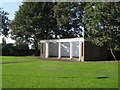 SO9390 : Roofless and seatless shelter, Grange Park, Dudley by Robin Stott