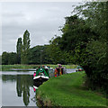 SJ9822 : Moored narrowboats on Tixall Wide, Staffordshire by Roger  Kidd