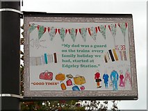 SJ8989 : Edgeley Lamppost: Holidays started at Edgeley Station by Gerald England