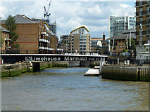 TQ3680 : Entrance to Limehouse Basin by Robin Webster