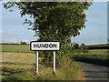 TL7146 : Hundon Village Name sign on Hundon Road by Adrian Cable