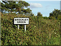 TL7146 : Brockley Green Village Name sign on Hundon Road by Adrian Cable