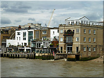 TQ3680 : 78 - 94 (evens) Narrow Street, Limehouse - river side by Robin Webster