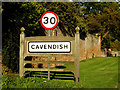 TL7945 : Cavendish Village Name sign on the A1092 Stour Street by Adrian Cable