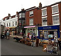 SZ3295 : Fells Gulliver office and market stalls in High Street, Lymington by Jaggery
