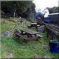 SD3584 : Picnic area alongside the track at Haverthwaite railway station by Jaggery