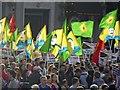 TQ2980 : Trafalgar Square protest by Steve  Fareham