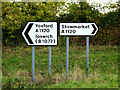 TM1860 : Roadsigns on the A1120 by Adrian Cable