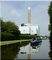 SJ8743 : Canal, boat and incinerator near Stoke-on-Trent by Roger  Kidd