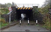 SS8591 : Low railway bridge in Maesteg by Jaggery