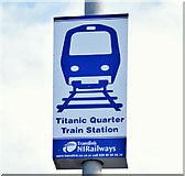 J3574 : Titanic Quarter railway station sign, Belfast (November 2014) by Albert Bridge