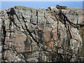 NB5464 : Folded rock in the cliff at Buaile na Faing by Hugh Venables