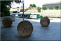 SK5319 : Spheres by the canal basin by Thomas Nugent