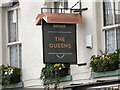 SJ8990 : Sign and Window Boxes at The Queens by Gerald England