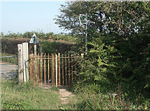 SS8178 : Kissing gate at the start of a public footpath on Moor Lane, near Nottage by eswales