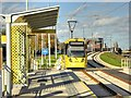 SJ8088 : Metrolink Airport Line, Baguley Tram Stop by David Dixon