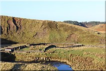 NS6518 : Sheepfold & enclosure by Guelt Water by Leslie Barrie
