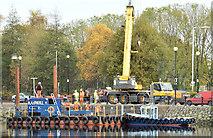 J3473 : Survey barge, River Lagan, Belfast - November 2014(2) by Albert Bridge