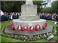 TQ4470 : Wreaths on Chislehurst War Memorial on Remembrance Sunday 2014 by Marathon