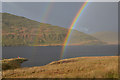 SN7686 : Rain and rainbow over Nant-y-moch reservoir by Nigel Brown