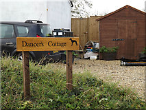 TM1781 : Dancer's Cottage sign by Adrian Cable