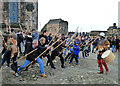 NT2573 : Medieval Warriors at Edinburgh Castle by Mary and Angus Hogg