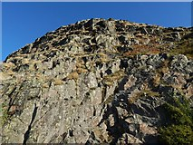 NS3974 : Dumbarton Rock: steep slopes of White Tower Crag by Lairich Rig