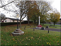 TM1578 : Scole Village sign & Scole War Memorial by Adrian Cable
