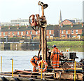 J3473 : Survey barge, River Lagan, Belfast - November 2014(6) by Albert Bridge