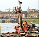 J3473 : Survey barge, River Lagan, Belfast - November 2014(6) by Albert Bridge