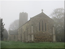 TF6303 : The Church of St Mary the Virgin at Bexwell on a Misty November Morning by Peter Wood