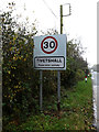 TM1785 : Tivetshall Village Name sign by Adrian Cable