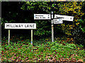 TM1178 : Roadsigns on Millway Lane by Geographer