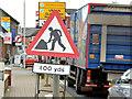 "J4174 : ""Road works"" sign, Dundonald (December 2014) by Albert Bridge"