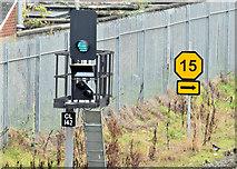 J3272 : Railway signal and speed-restriction sign, Adelaide, Belfast (December 2014) by Albert Bridge