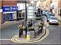 TF0920 : Pedestrian island in the town centre at Bourne, Lincolnshire by Rex Needle